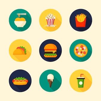 円形状の長い影と食べ物や飲み物のフラットなデザインアイコンのセット