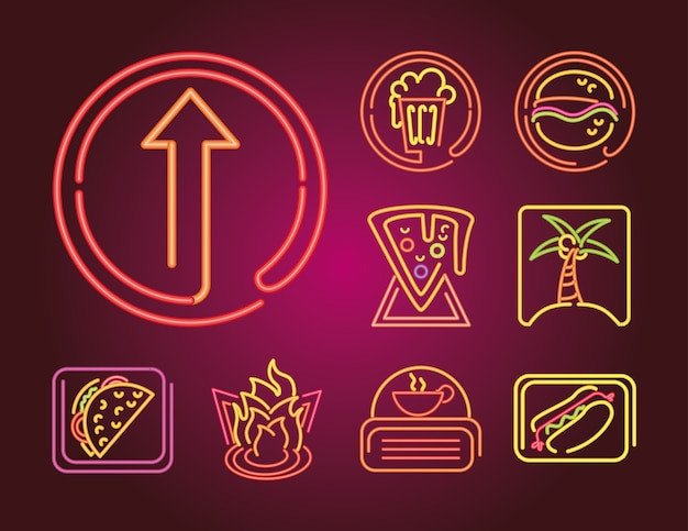 グラデーションイラストの食べ物や飲み物のネオンサインアイコンのセット