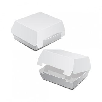 음식 상자, 햄버거, 점심, 패스트 푸드, 샌드위치 포장의 집합입니다. 흰색 배경에 제품 패키지