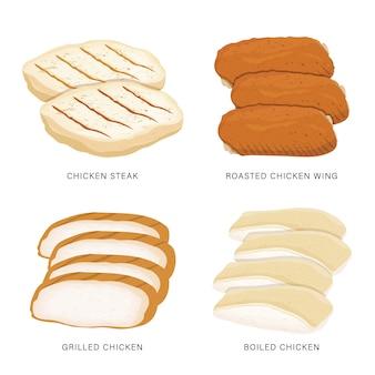 白い背景に分離された食品チキンスライスのセットです。漫画イラスト
