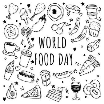Набор иллюстрации каракули день еды
