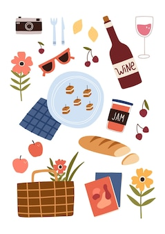 食べ物、飲み物、その他のピクニックの必需品のセット。手描きのベクトル図です。