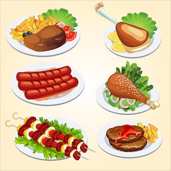 Set of food from meat