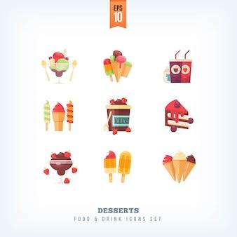 食品アイコンデザート、アイスクリーム、甘い料理のセットです。白い背景の上