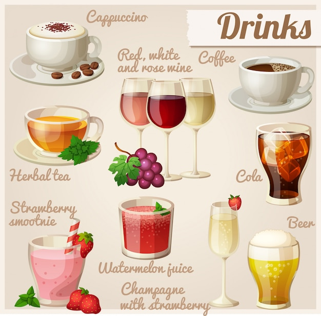 Набор иконок продуктов питания. напитки.