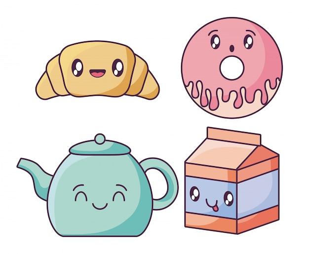 Набор иконок еды в стиле каваий