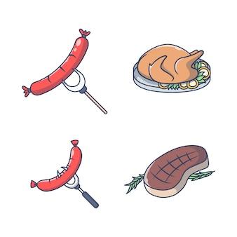 Набор пищевых иллюстраций в плоском дизайне