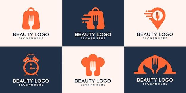食品ロゴのコンセプト、ショップ、シェフ、地図、時間の食品のセット。ロゴシンプルモダン
