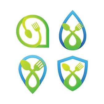 食品ロゴデザインのセット