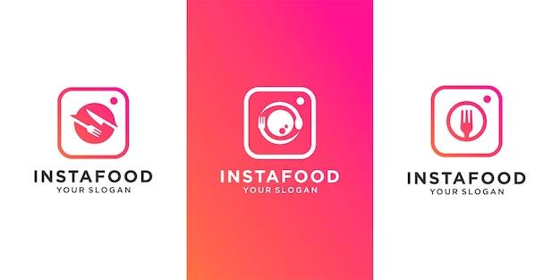 Набор продуктов питания логотип с иконками приложений, ресторан, кафе. комбинированная камера, вилка, ложка, нож дизайн логотипа