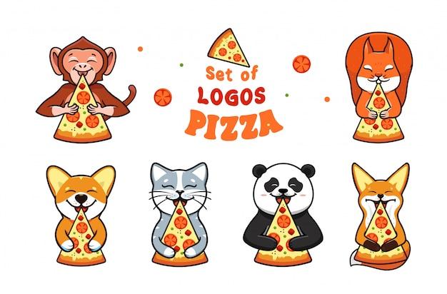 ピザを食べる動物と食品のロゴのセット