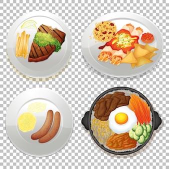 透明な背景の上の食品のセット