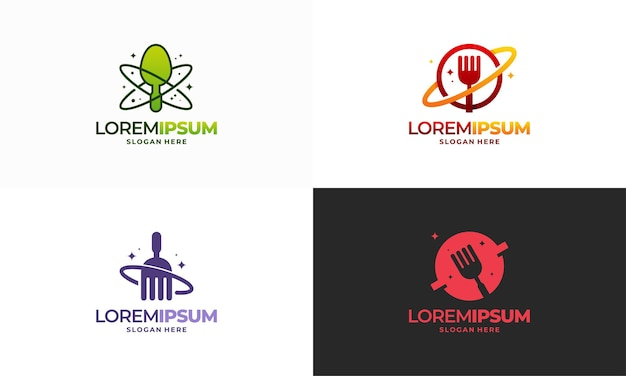 フードプラネットロゴ、ワールドフードロゴデザインコンセプトベクトル、レストランロゴデザインテンプレート、ロゴアイコンシンボルのセット