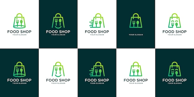 食料品店のロゴのセット。ショッピングバッグのロゴとカトラリーの組み合わせ
