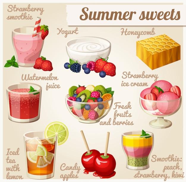 食べ物のセット。夏のお菓子