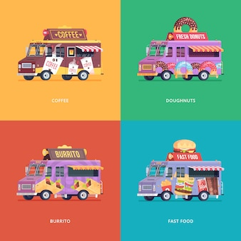 Набор продовольственных грузовиков иллюстраций. современная концепция композиций для кофе, пончиков, буррито и фаст фуд с доставкой.