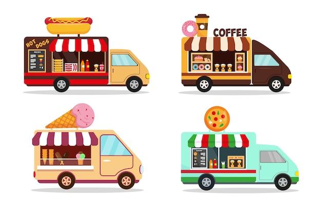 白い背景で隔離のフードトラックのイラストのセットです。ファストストリートフードのコンセプトのためのホットドッグ、コーヒー、アイスクリーム、ピザショップの車。