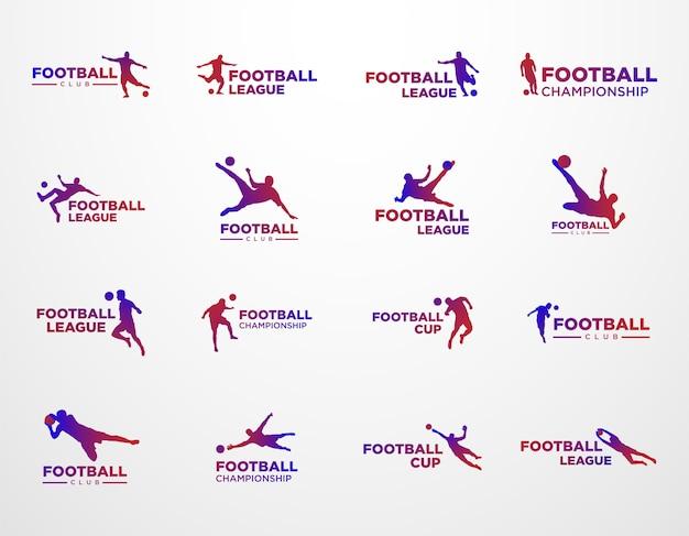 サッカークラブリーグとチャンピオンシップロゴのセット