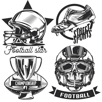 サッカーのエンブレム、ラベル、バッジ、ロゴのセット。白で隔離