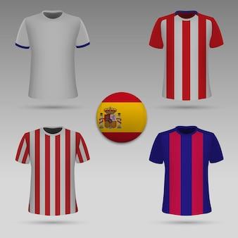 スペインのクラブのサッカーキットのセット、tシャツテンプレート