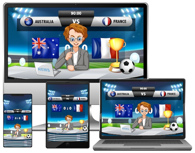 さまざまな電子ガジェット画面でのサッカーの試合スコアニュースのセット