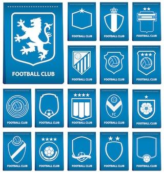 青いラベルのサッカーやサッカーのロゴのセット Premiumベクター