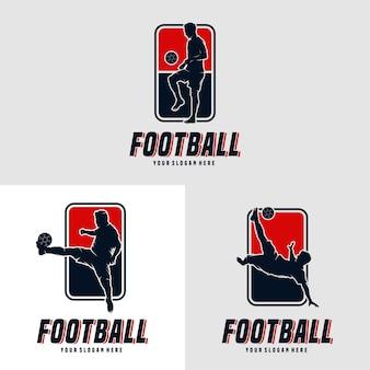 Набор дизайн логотипа человек футболист