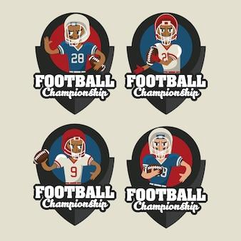 Набор футбольных спортивных круглых эмблем
