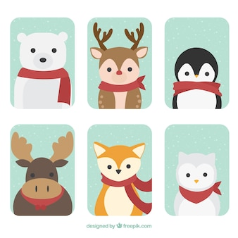Set of forest animals with red scarf