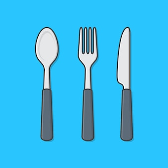 フォーク、ナイフ、スプーンのアイコンイラストのセット