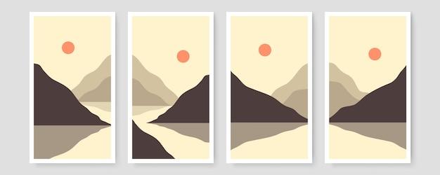 세기 현대 풍경 중반 4 추상 미학 세트 현대 boho 디자인입니다. 최소한의 자연 삽화 벽 예술