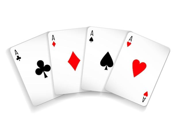 白い背景でポーカーとカジノをプレイするためのカードの4つのエースデッキのセット。スペード、ダイヤ、クラブ、ハート。
