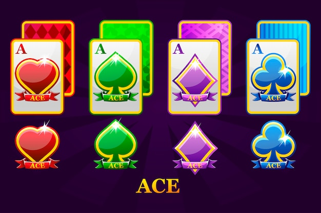 ポーカーとカジノのための4つのエーストランプスーツのセット。ハート、スペード、クラブ、ダイヤモンドエースのセット。