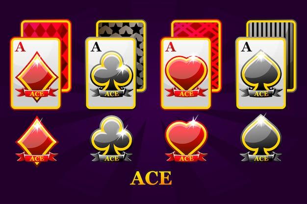 ポーカーとカジノのための4つのエーストランプスーツのセット。ハート、スペード、クラブ、ダイヤモンドエースのセット。 Premiumベクター