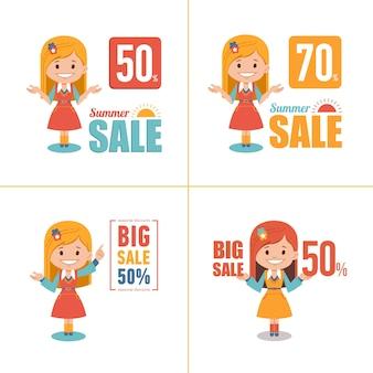 4つの広告ショッピングラベルのセット。夏のセール、50%の大きなセール。キャラクターの女の子とのバナー季節限定割引