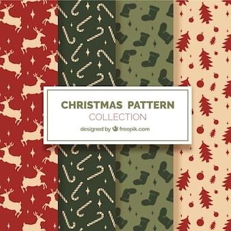 Set of four beautiful christmas patterns