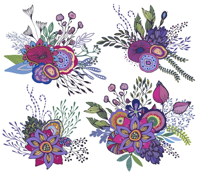 手描きの花、植物、枝と4つの美しいファンタジー花束のセットです。明るくカラフルなベクトルイラスト。
