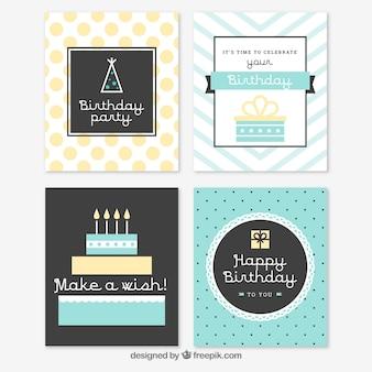 ヴィンテージスタイルの4つの誕生日カードのセット