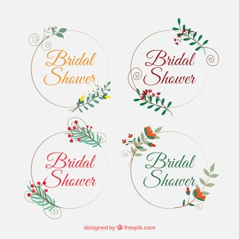 set of four bridal shower frames with flowers