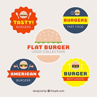 Набор из четырех логотипов для гамбургеров в плоском дизайне