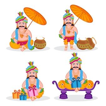 マハーバリ王の4つの漫画のインドのオナムキャラクターのセット。