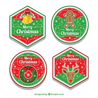 Набор из четырех рождественских значков
