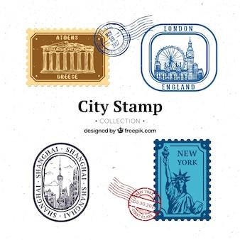 4 도시 우표의 세트