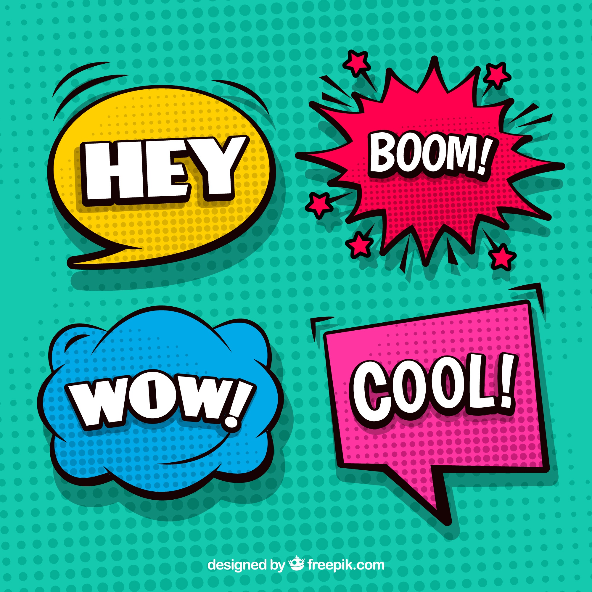 Set of four colorful comic speech bubbles