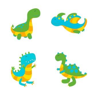 Набор из четырех красочных динозавров на белом фоне. векторные иллюстрации в милый плоский стиль