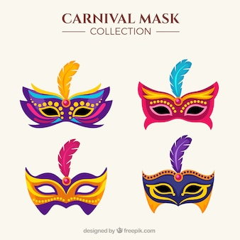 Set Of Four Colorful Masks