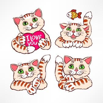 かわいい笑顔の猫4匹のイラストのセット