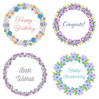 4つの装飾的な花輪のセット