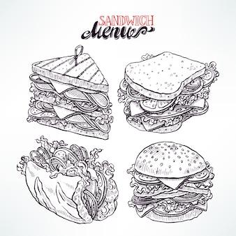 4 개의 맛있는 식욕을 돋우는 샌드위치 세트. 손으로 그린 그림
