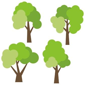흰색 배경에 고립 된 4 개의 다른 만화 녹색 나무의 집합입니다. 벡터 일러스트 레이 션